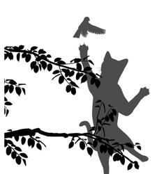 Cat hunting bird vector