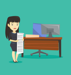 disappointed business woman holding long bill vector image