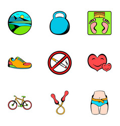 muscle icons set cartoon style vector image