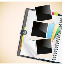 photos on a diary vector image vector image