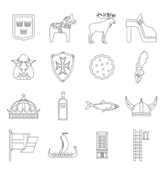 Sweden travel icons set outline style vector image vector image