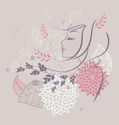 women profile flowers back vector image vector image