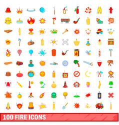 100 fire icons set cartoon style vector