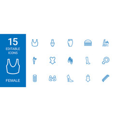 15 female icons vector