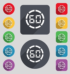 60 second stopwatch icon sign A set of 12 colored vector image