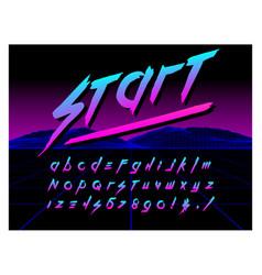 80s retro futurism style font brush stroke vector image