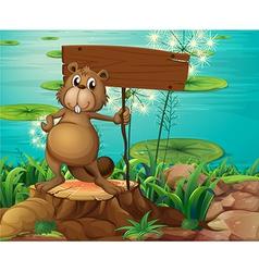 A beaver above stump holding an empty vector