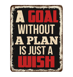 A goal without a plan is just a wish vintage vector