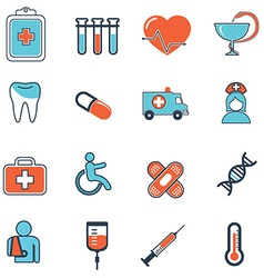 Abstract collection of flat line healthcare and vector image