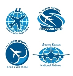 Aircraft logo emblems set vector image