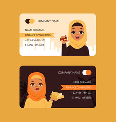 Arab businesswoman finance consulting set of vector