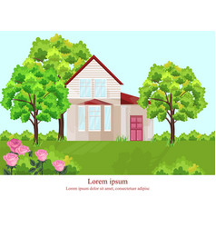 Architecture facade house nature beautiful vector