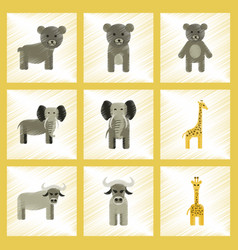 Assembly flat shading style icons giraffe bull vector