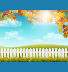 autumn rural landscape with fence vector image
