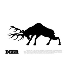 Black silhouette of fighting deer forest animal vector