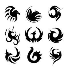 Black tattoo template of phoenix isolated vector