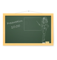 Blackboard with business woman and organizing vector