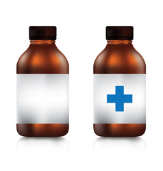 Brown medicine bottle with screw cap on a white vector