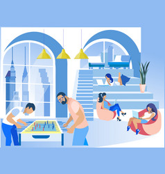 Businesspeople at modern creative coworking office vector