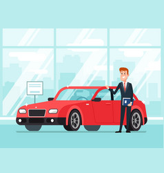 Car salesman in dealer showroom new cars sales vector