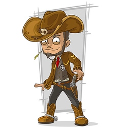 Cartoon cool cowboy in leather jacket vector