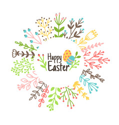 cartoon easter wreath vector image