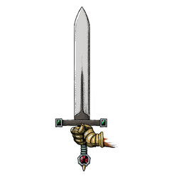 cartoon image of hand holding sword vector image vector image