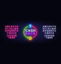 cash back neon logo cash back neon sign vector image