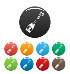 Champagneicons set color vector
