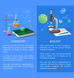 Chemistry and biology banners with flasks vector