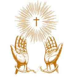 christian symbol cross with bright rays hands vector image