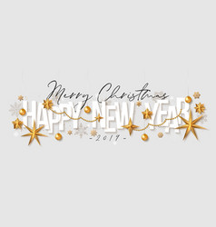 christmas greeting card happy new year vector image