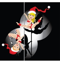 Christmas pole dancers vector