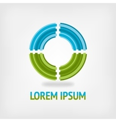 Circle logo design template in blue and green vector