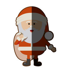 color silhouette of santa claus with gift bag and vector image