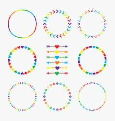 colorful rainbow circle emblems pattern set vector image
