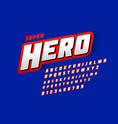 comics style font super hero upper and lowercase vector image