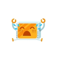Crying Little Robot Character vector