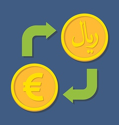Currency exchange Euro and Rial vector image