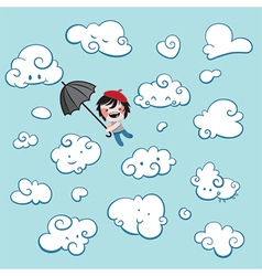 Cute boy flying among clouds vector