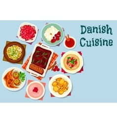 Danish and scandinavian cuisine dishes icon vector
