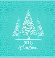 decorative christmas tree design on blue vector image