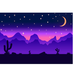 Desert parallax background night vector