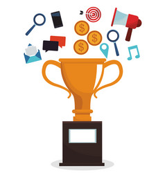 Digital marketing trophy campaign image vector