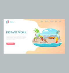 Distant work girl using laptop on beach vector
