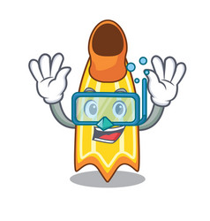 Diving swim fin character cartoon vector