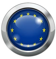 European union flag metal button vector image