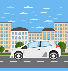 family universal car in urban landscape vector image