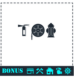 Fire equipment icon flat vector