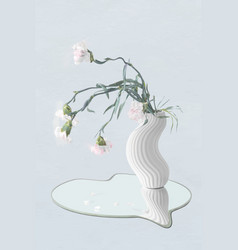Flower sticker white carnation in vase abstract vector